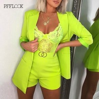 PFFLOOK 2019 Summer Two Piece Set Official Lady Top And Shorts 2 Piece Set Women Sexy Deep V Neck Long Sleeve Elegant Formal Set