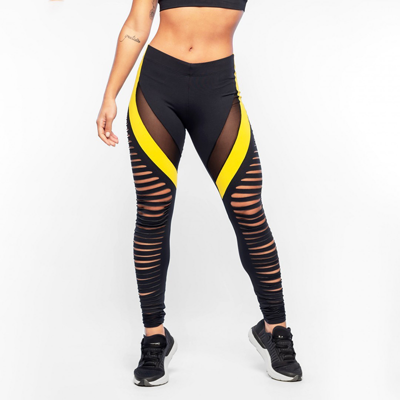 2019 Summer New Women  Sexy Hollow Out Push Up Leggings Workout Breathable High Waist Elastic Slim Black Yellow Pants F3