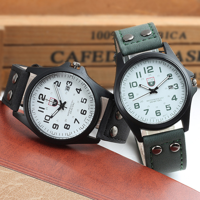 Brand men watch New mans clock Mens Date Leather Strap watches Sport Quartz Military Wristwatch relatio masculine 4 color