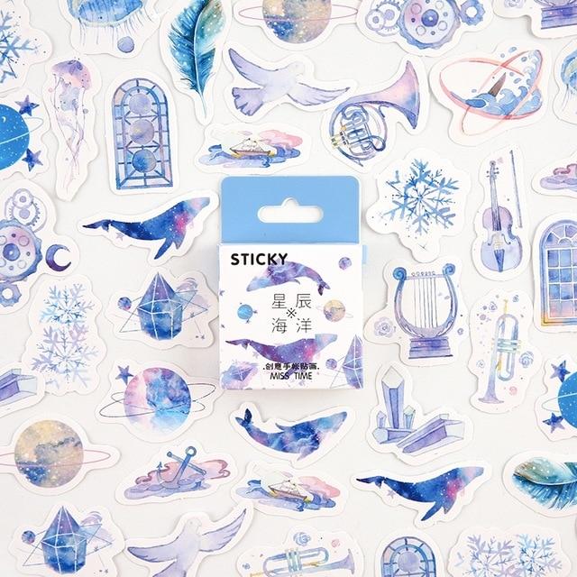 Yıldız okyanus dekoratif kırtasiye mini çıkartmalar seti Scrapbooking DIY günlüğü albümü sopa etiket