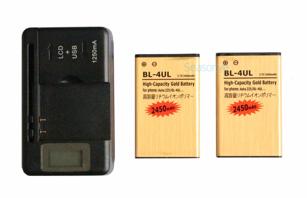 Seasonye 2x 2450mAh <font><b>BL</b></font>-4UL / <font><b>BL</b></font> 4UL / BL4UL Gold Replacement Battery + LCD Universal Charger For Nokia Asha <font><b>225</b></font> Asha225 image
