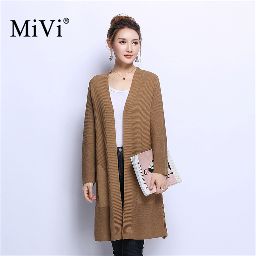 MIVI Casual Women Cardigan Open Front Autumn Sweater With Pockets Tops Long Sleeve Rib Warm Knitwear Coat Female Cardigans