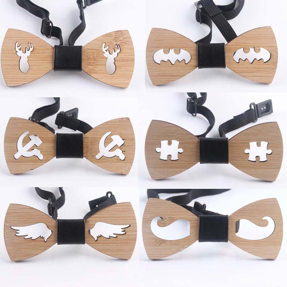 Hot Fashion Mens Wooden Bow Tie Accessory Wedding Gifts Bamboo Wood Bowtie For Men