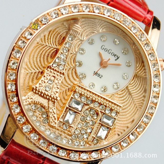 Brand Gogoey Women rhinestone watches Luxury Crystal The Eiffel Tower Watch Women Ladies Fashion Dress Quartz Wristwatches
