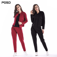 PGSD Autumn winter Simple Fashion Pure Colored Women Clothes Long sleeved Round collar coat Elastic Waist trousers Suit female