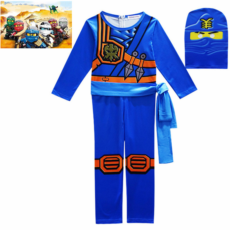 3PCS/SET Legoo Ninjago Cosplay Costumes Boys Jumpsuits Sets Halloween Christmas Party Clothes Ninja Superhero Streetwear Suits