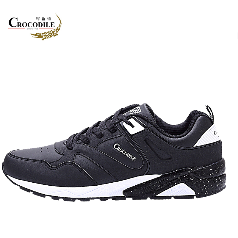 Crocodile Original Men Athletic Sneakers Male Leather Running Shoes breathable Stable for Men's flat Jogging Sport Shoes Trainer faux leather insert breathable athletic shoes