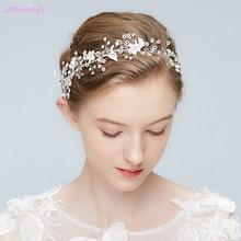 Здесь можно купить   Jonnafe Charming Bridal Headband Silver Leaf Hair Vine Wedding Tiara Hair Accessories Crystal Headpiece Women Jewelry Fashion Jewelry