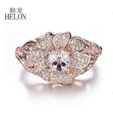 HELON Solid 14K Rose Gold Pave 0.7ct Natural Diamonds 5.5mm Round Cut 0.56ct Pink Morganite Engagement Wedding Fine Flower Ring