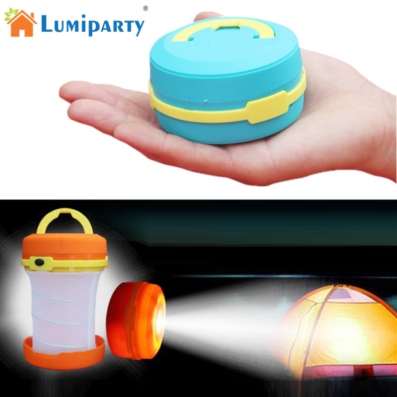 LumiParty Portable LED Camping Lantern Collapsible Round Night Light for Hiking Camping Outdoor Emergency