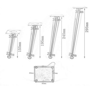 Image 3 - 4Pcs Furniture Table Legs Load 900KG TV Cabinet Foot Sofa Hardware 15/20/25/30CM Tapered