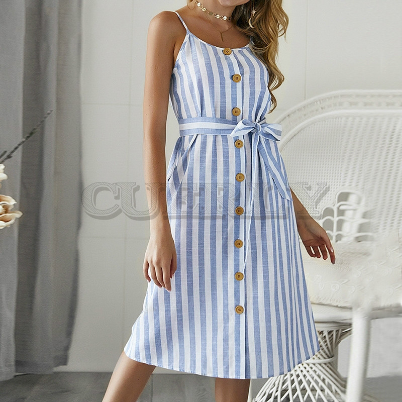 CUERLY Elegant stripe print women summer sundress Sexy strap dress Button Sashes female maxi long 2019