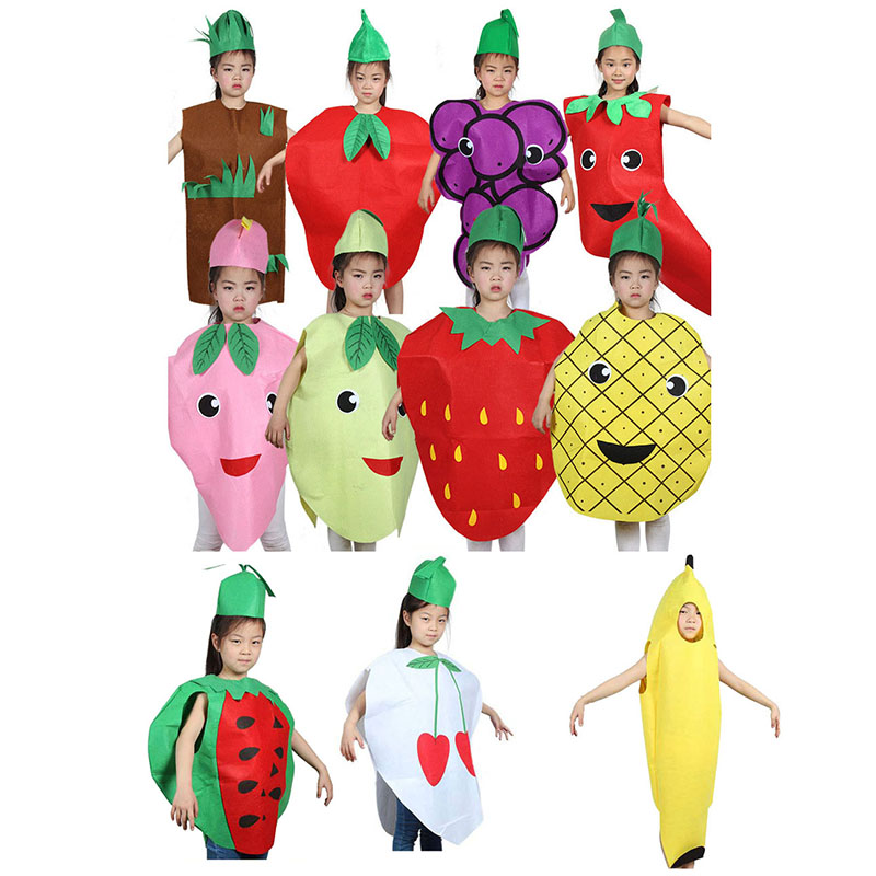 Fashion Unisex Children Fancy Dress Cartoon Fruit Vegetable Kid Costume Suits Party Outfit Boy Girl Performance Clothes