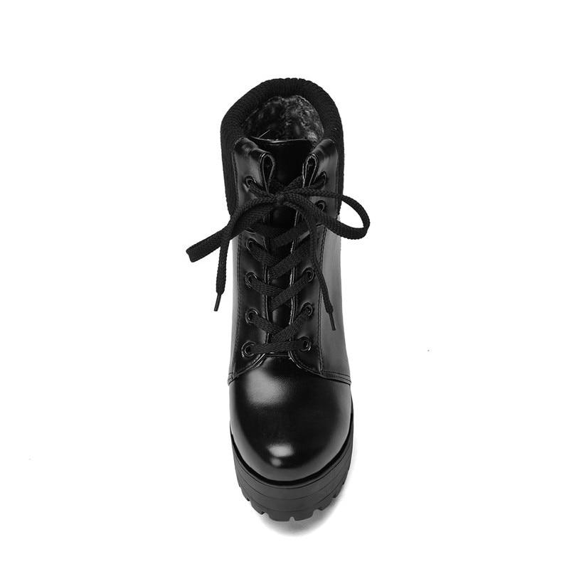 Chaussures Mode black Jusqu'à Cheville Hiver Cuir De Zapatos Bottes Beau Dentelle Corée White brown Talons Femmes Pu forme Mujer La Chaude Chaud Plate beige Vente Épais En oWrxBQCed