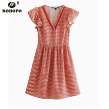 ROHOPO Preppy Girl Butterfly Chic Plaid Printed Flared Dress Pink Pleated Vestido #UK9330