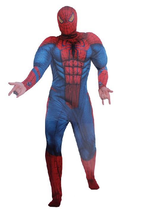 Free shipping adult high quality cool cosplay muscle spiderman costume party halloween costume clothes