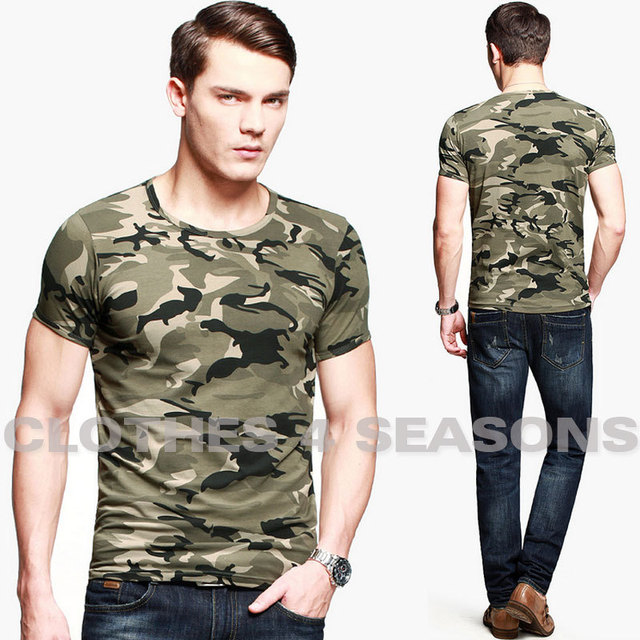 T Shirt Men 2014 New Style Fashion Camouflage Sport Short Sleeve T-shirt, Personality Army Green O-Neck T-shirt Men's Clothing
