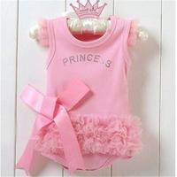 0 24M Baby Girls Kids Pink Bodysuit Princess One Piece Shirt Tops Dress Costume
