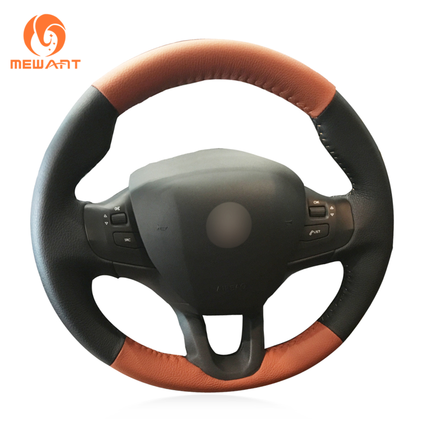 MEWANT Hand-stitched DIY Black Brown Leather Car Steering Wheel Cover for Peugeot 208 Peugeot 2008 wcarfun hand stitched black leather steering wheel cover for peugeot 308 old peugeot 408