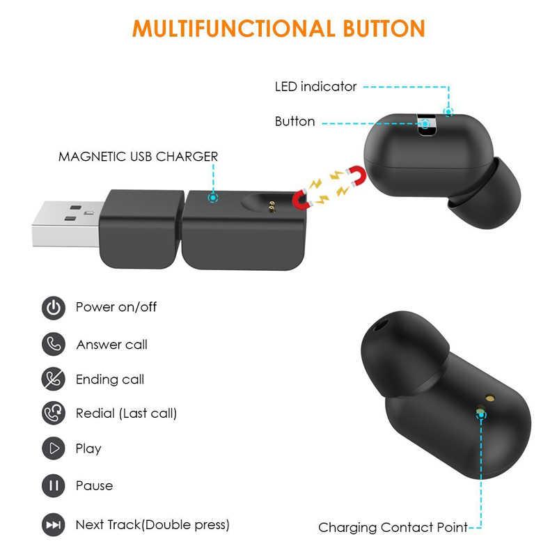 2017 JESBOD A1 мини невидимый наушники Bluetooth наушники Магнит USB Зарядное устройство IPX5 Шум отмена вкладыши с микрофоном