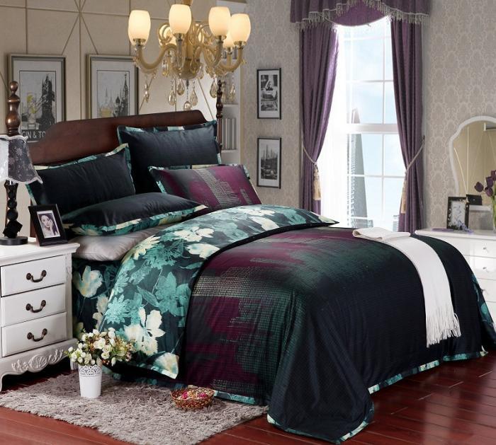 Blue Floral Luxury Egyptian Cotton Satin Comforter Bedding