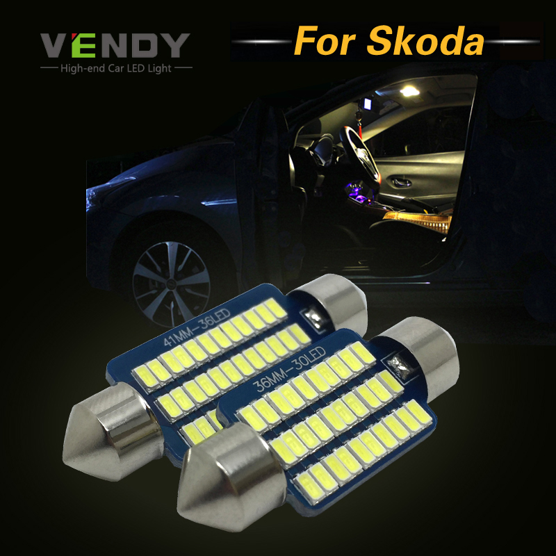 2x 28mm 31mm 36mm 39mm 42mm C5W LED Canbus Car Festoon Dome Interior Lights Lamp Auto Bulbs For Skoda Superb Octavia Rapid Yeti