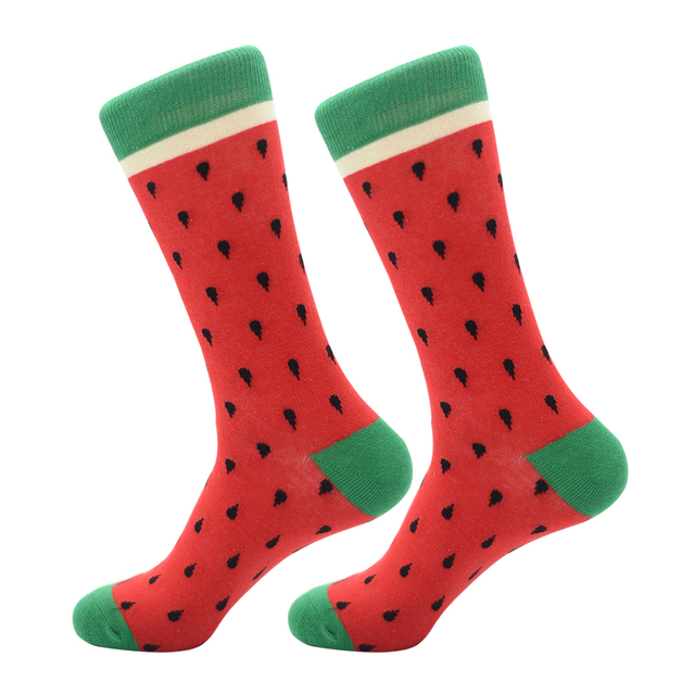 New Arrival Colorful Men's Cotton Crew Funny Socks Watermelon Bee Strawberry Pattern Female Novelty Wedding Socks For Gifts 3