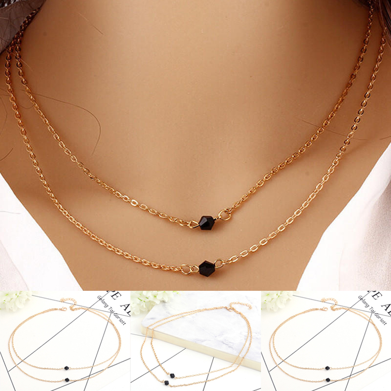 Women/'s Attractive Rhinestones Beads 2 Layers Golden Alloy Chain Long Necklace
