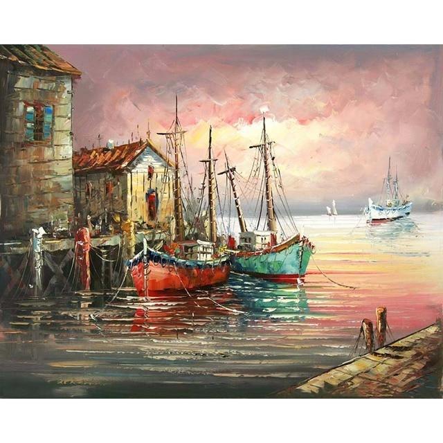 Imagen sin marco paisaje marino barco DIY pintura por los números ...