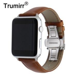 Image 1 - Italiaanse Lederen Horlogeband Voor Iwatch Apple Horloge 5 4 3 2 38Mm 40Mm 42Mm 44Mm stalen Vlindersluiting Band Polsband Riem