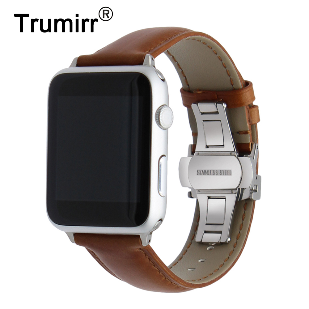Italian Genuine Leather Watchband Crazy Horse Strap for iWatch Apple Watch 38mm 42mm Steel Butterfly Buckle Band Wrist Bracelet