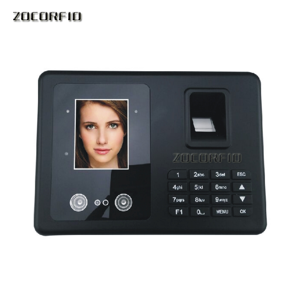 Free Shipping  Biometric Fingerprint & Face Time Attendance Clock Recorder Employee Digital Electronic English Menu& Human Voice(China)