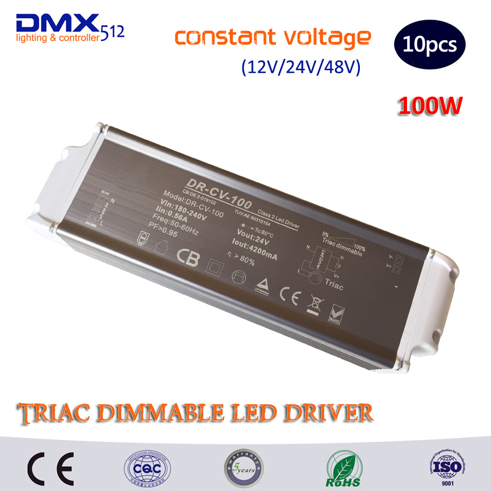DHL Free shipping 100W Triac Dimmable LED Driver Constant Voltage(DC12V/DC24V) LED Power Supply