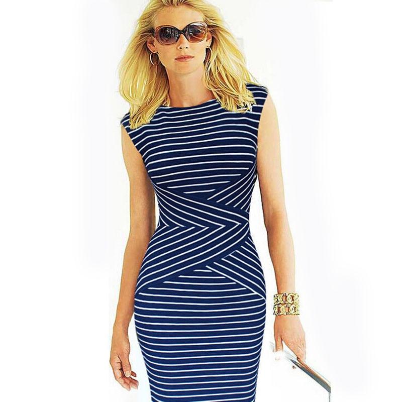 Summer Dress Ladies Dresses Mujer Slimming Striped Dress Grande Taille Women Clothing Vestido Dresses Summer Style C162