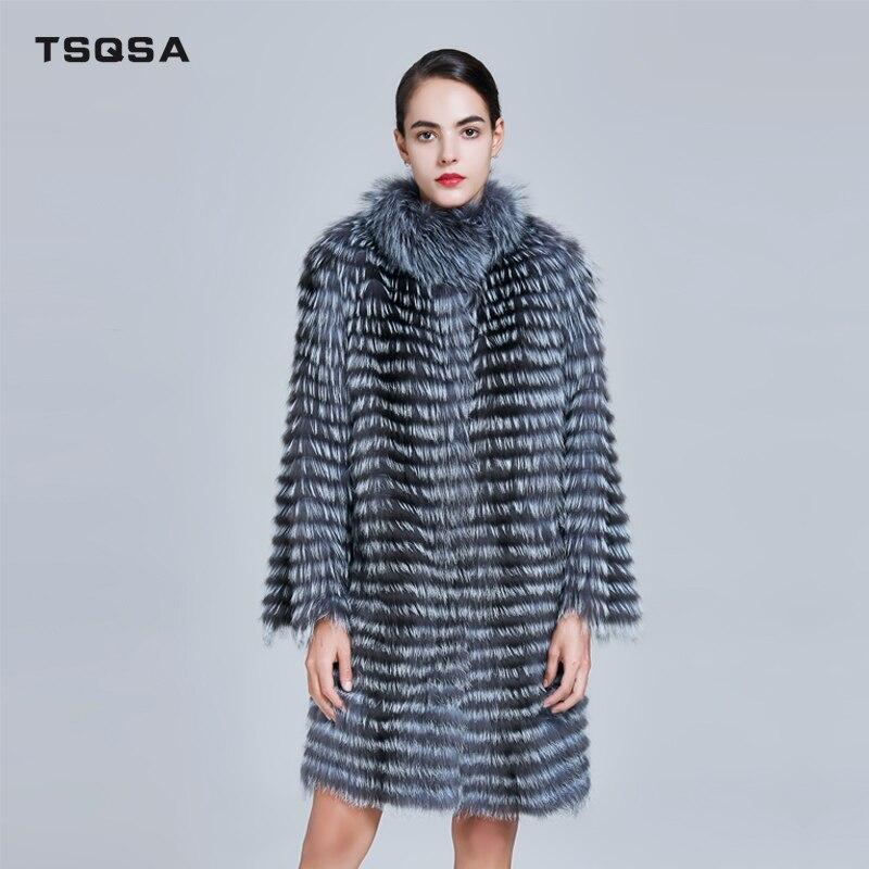 TSQSA Mulheres Reais Silver Fox Fur Casacos de Pele Natural para Inverno Moda Jaquetas Listradas Colete Feminino Quente Outerwear Senhora Roupas TAC1713