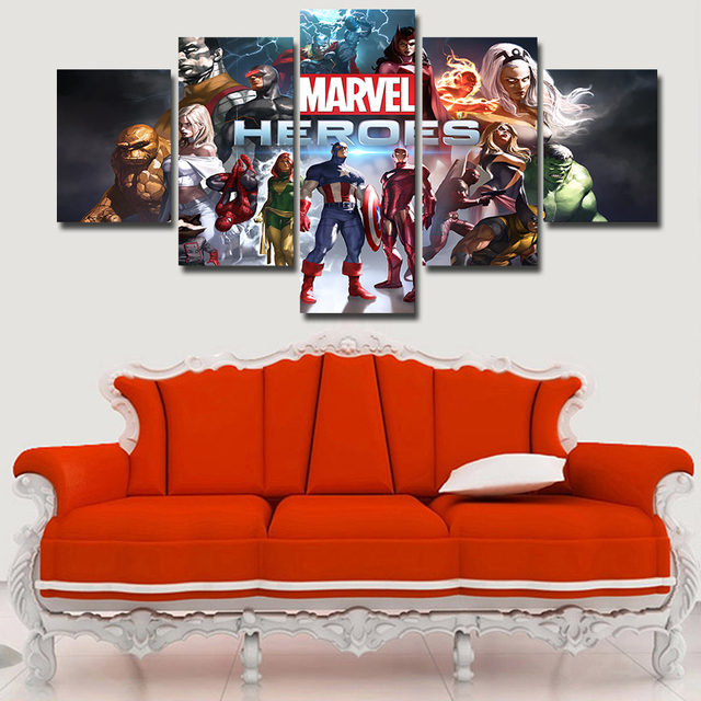 living room canvas art. 5 Piece Canvas Art Marvel Super Heroes Game Posters And Prints For Living  Room Wall