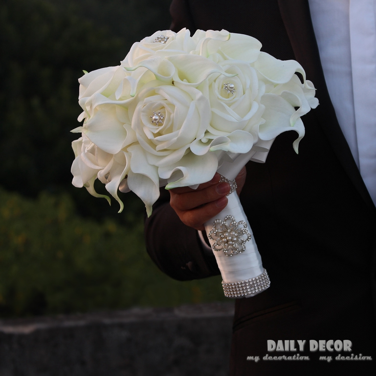 Real Touch PU rose Calla Lily wedding bridal bouquet bride Holding / hand hold flowers white artificial flower wedding bouquet
