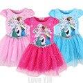 2016 новый летний девушки на анна принцесса дети Elsa дети платье ткань ну вечеринку Cinderela платье Vestidos младенцев платья