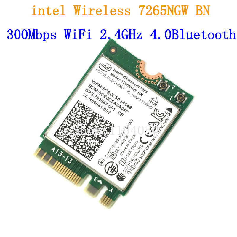 Wireless Adapter Card For Intel 7265NGW BN Wireless-N 7265 NGFF Wireless Wifi Card 300Mbps 4.0 Bluetooth