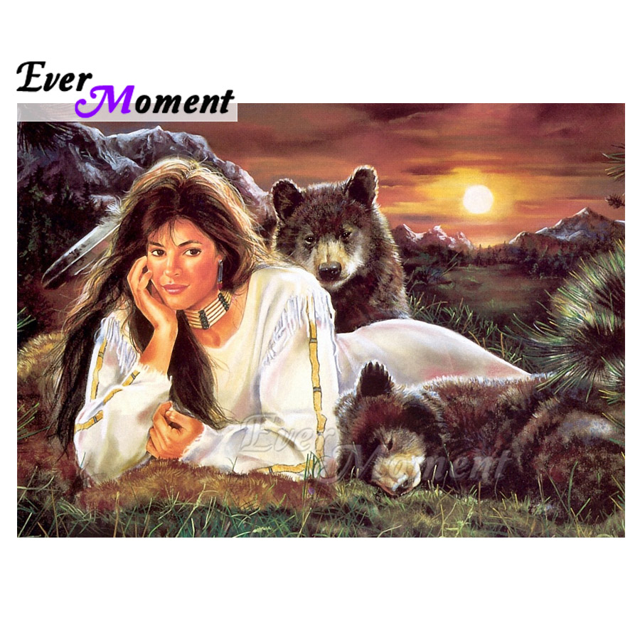 Immer Moment Diamant Malerei Frau Sleeping Bear Sonnenuntergang Volle Quadrat Bohrer Diamant Stickerei Dekoration Für Home Mosaik 3F1370