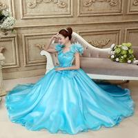 Blue Flower Quinceanera Dresses New Fashion The Princess Stage Singing Luxury Ball Gown Performance Dress Quinceanera Kleid