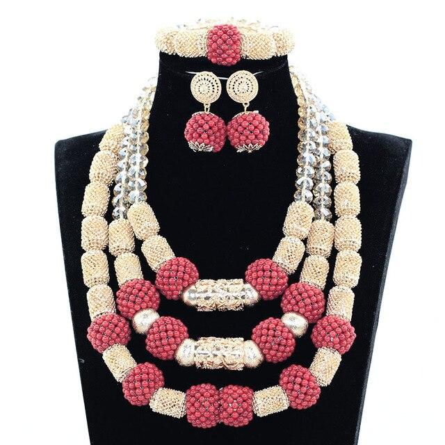 Splendide mariage nigérian corail déclaration bijoux ensemble fait à la main corail perlé africain collier Bracelet boucles d'oreilles ensemble or GA511