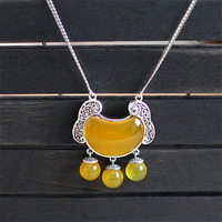 925 bạc trang sức Tự Nhiên bán quý stones retro bohemian Retro vàng chalcedony khóa Tua Necklace lady bạn gái quà tặng