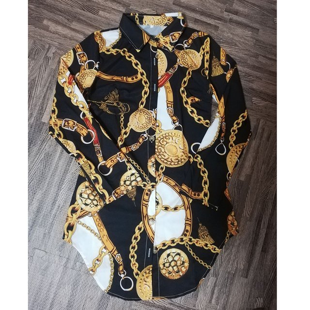 Vestido estampado de encaje para mujer, ropa Sexy para discoteca, corta, dobladillo de curva, estampado de cadena, cinturón, informal, camisa, variedad opcional 3