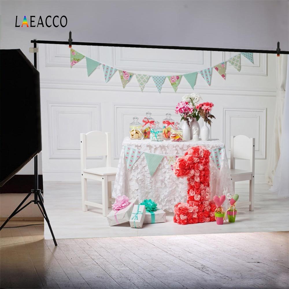 Laeacco Baby 1 Födelsedag Flaska Blomster Inredning Present Flagg - Kamera och foto - Foto 2