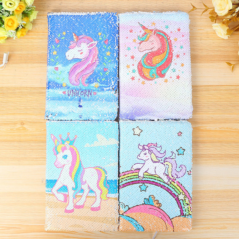 New A5 Notebook Color Reversible Sequin Unicorn Diary Notebook 78 Page Notebook Journal DIY Personal Diary Note Book creative trend dolphin notebook a5 color inside page note book sketch book graffiti diy diary japanese stationery