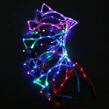 Lighting Headband Optical Fiber Cat Ear Flashing Head hoop Hair Dance Glow Party Supplies Wedding Decoration(China)