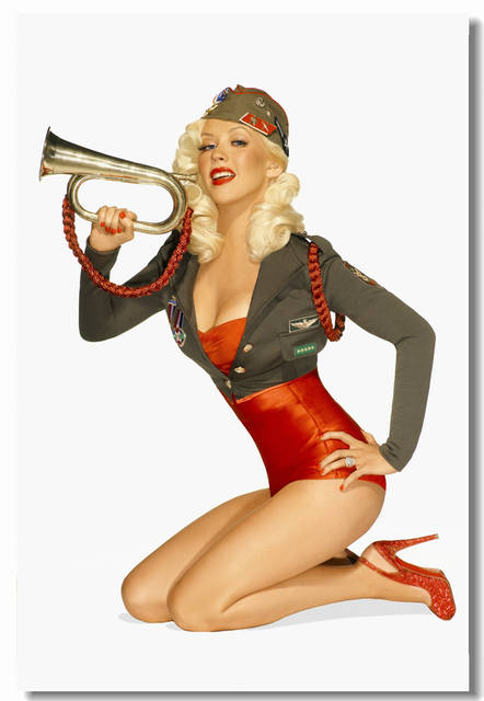 Custom Canvas Wall Decals Pin Up Girl Christina Aguilera Poster Christina  Aguilera Mural Office Stickers Sexy Wallpaper #0405#