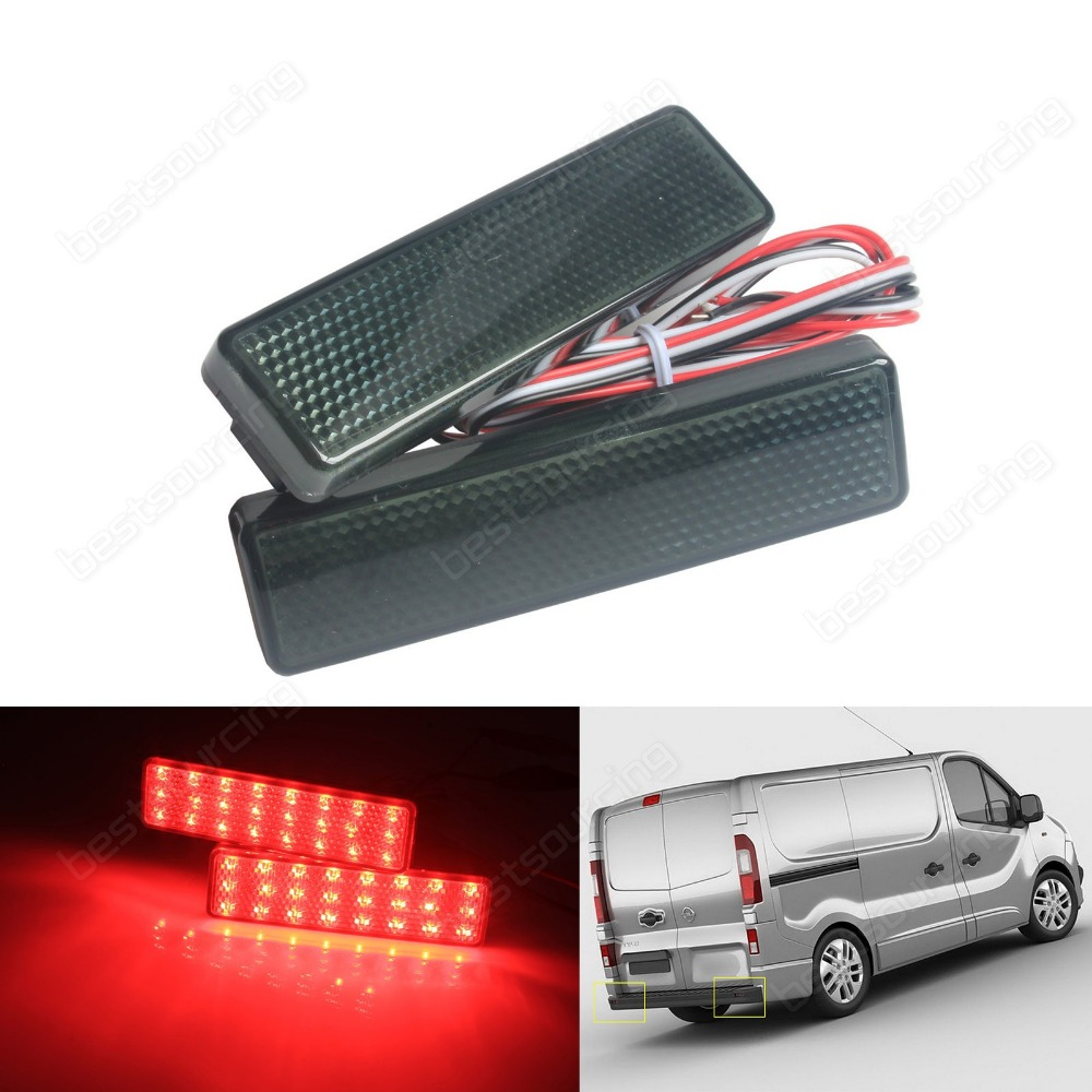 2x Black Smoked LED Rear Bumper Reflector Light  For Opel / Vauxhall Movano A Vivaro(CA327) накладка на задний бампер opel vivaro 2001