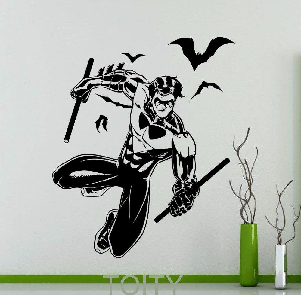 Nightwing Poster Black Wall Sticker Superhero Comics Vinyl Decal - Superhero vinyl wall decals